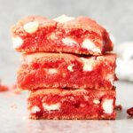 three strawberry brownies stacked