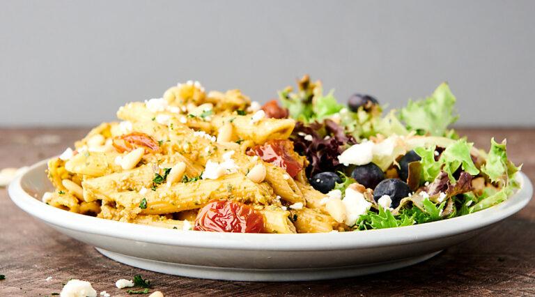 pasta with sun dried tomato pesto and side salad