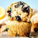 vegan blueberry muffins stacked