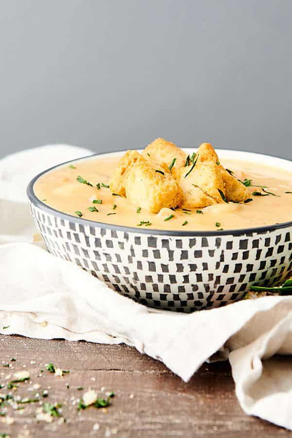 bowl of vegan potato soup side view