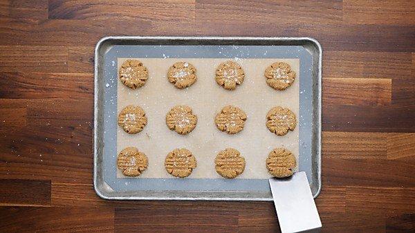 almond flour peanut butter cookies on cookie sheet