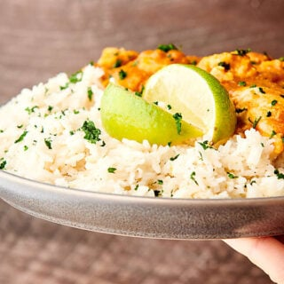 plate of coconut lime rice with chicken held