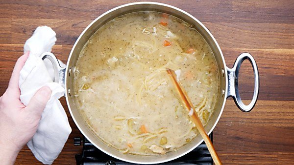 broth and noodles added to stockpot