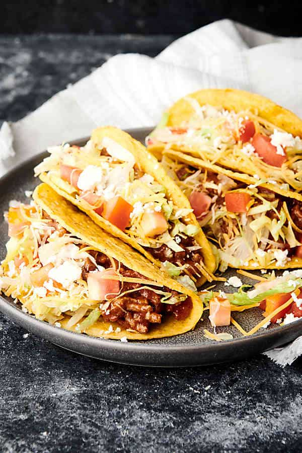 plate of tacos with crockpot taco meat