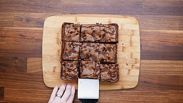 finished brownies on cutting board