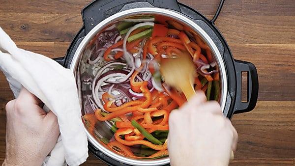 veggies being cooked in instant pot