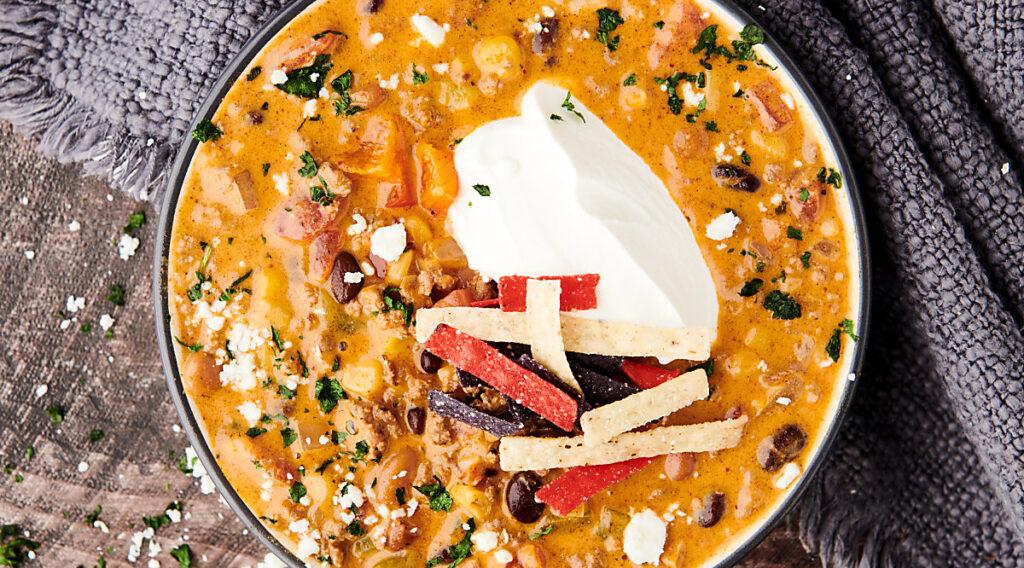 bowl of instant pot taco soup above