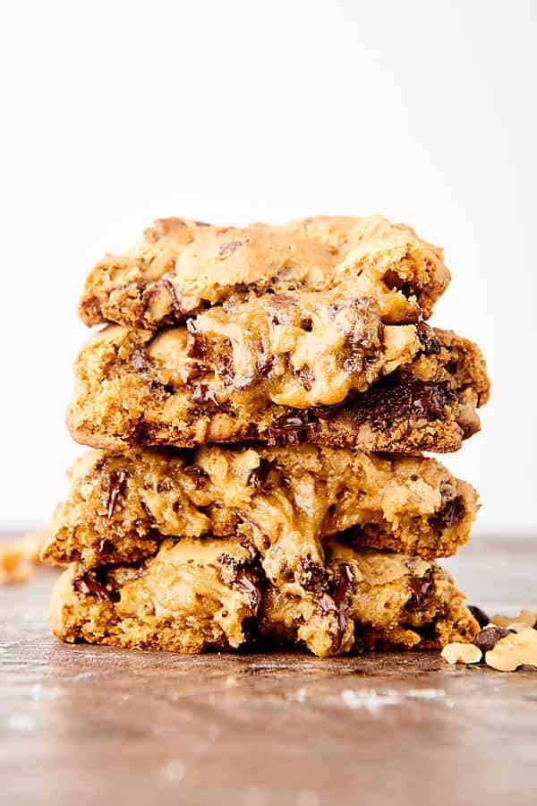 levain cookies stacked