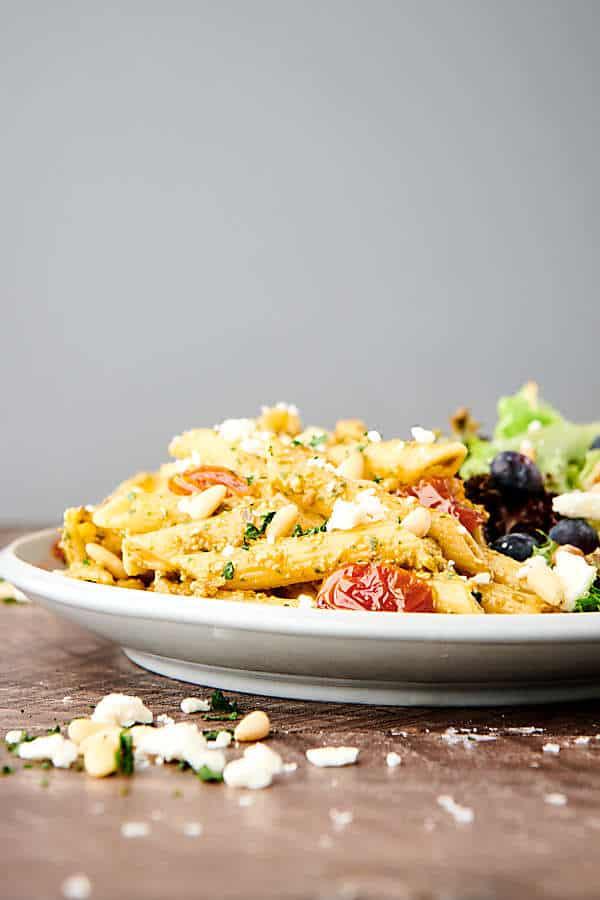 plate of sun dried tomato pesto pasta side view