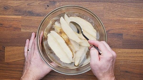 potato wedges in sugar water