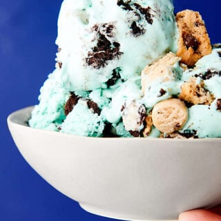 bowl of cookie monster ice cream held