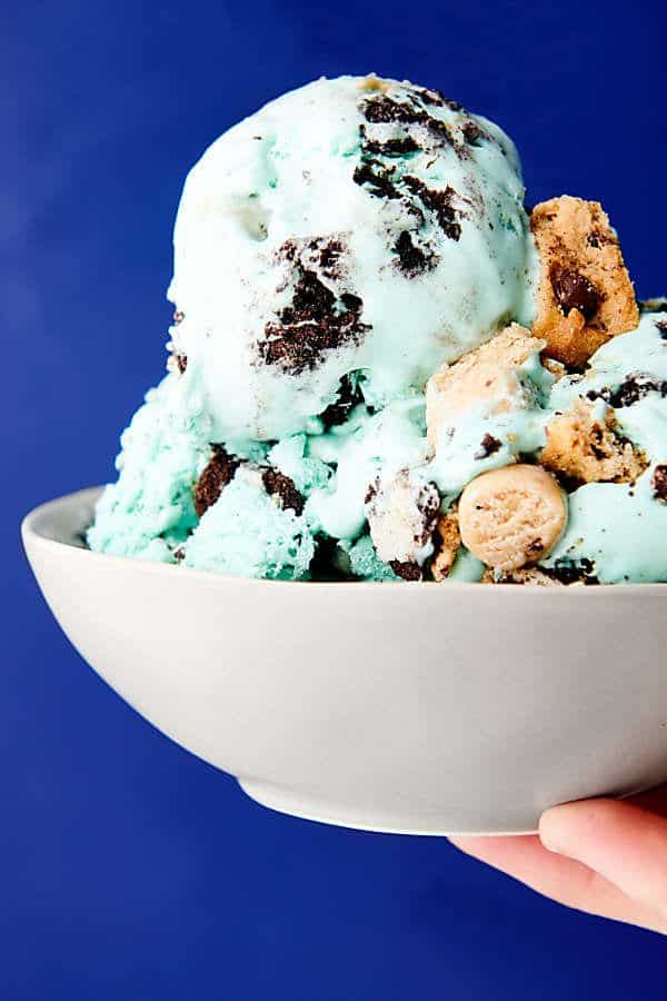 bowl of cookie monster ice cream held