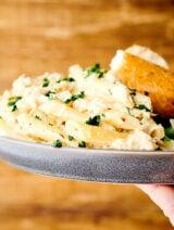 plate of crockpot chicken alfredo held one hand