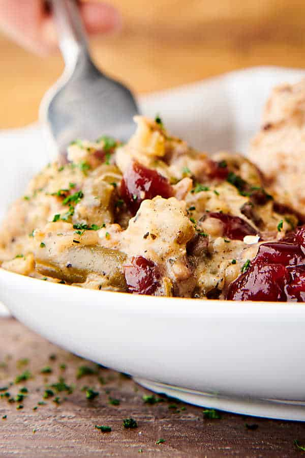 closeup of plate of crockpot chicken and stuffing