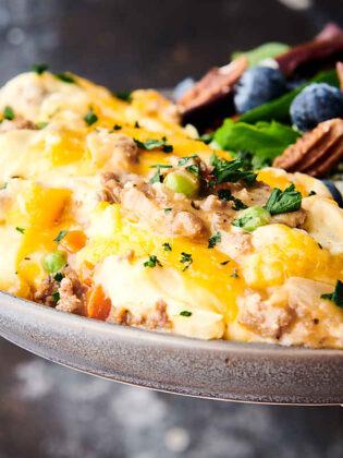 closeup of instant pot shepherd's pie on plate
