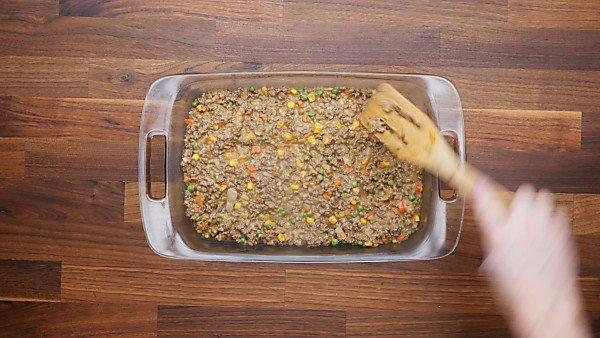 beef mixture in baking dish