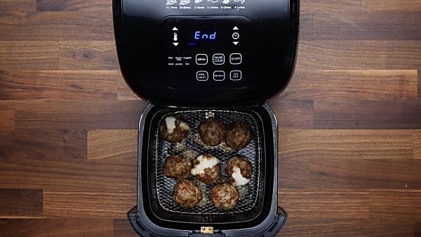 air fried meatballs in air fryer basket