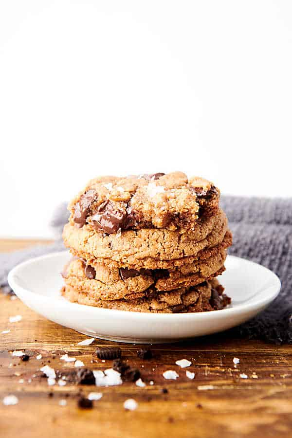 almond flour cookies stacked on plate