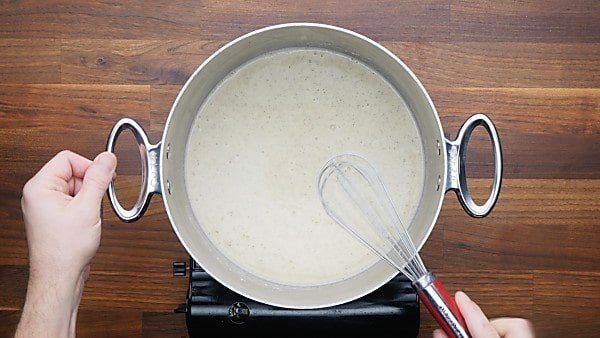 cheese sauce in stockpot