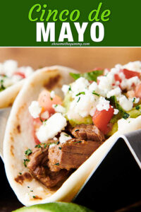 cinco de mayo text with carne asada taco