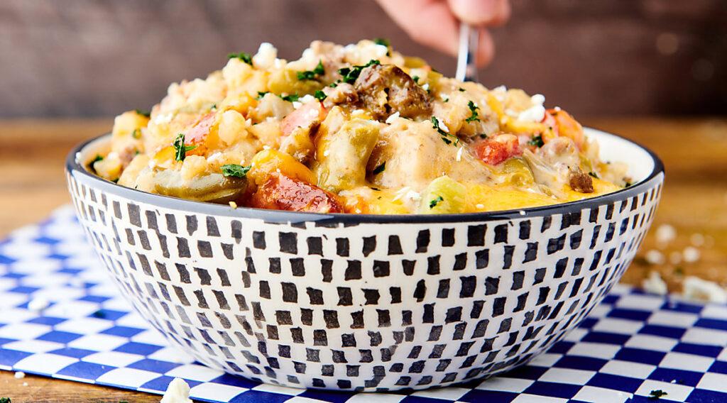 bowl of crockpot tater tot casserole side view