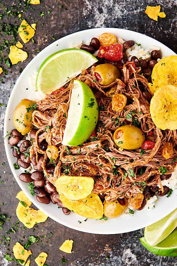 plate of instant pot ropa vieja above