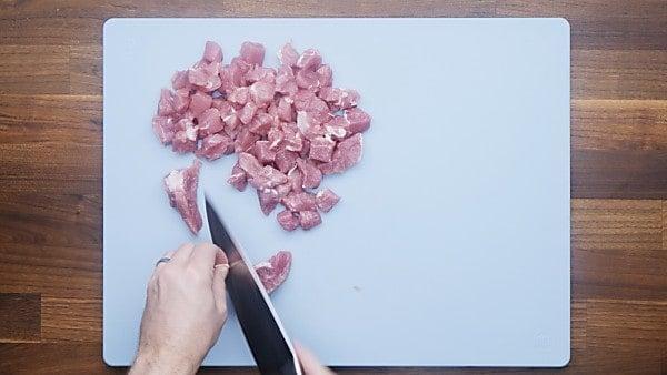 pork being cut