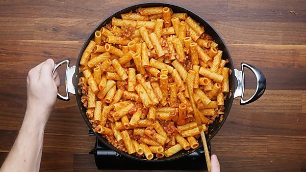 pasta and sauce mixed in
