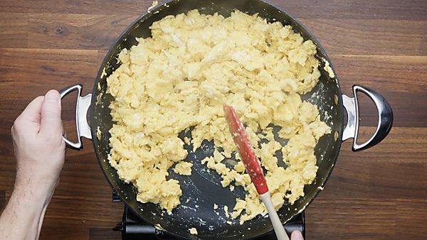scrambled eggs in skillet
