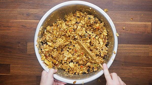 breakfast burrito filling in mixing bowl