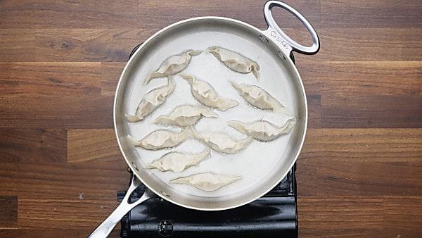 potstickers in saute pan