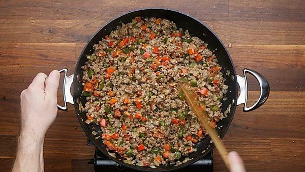 beef and veggie mixture in skillet
