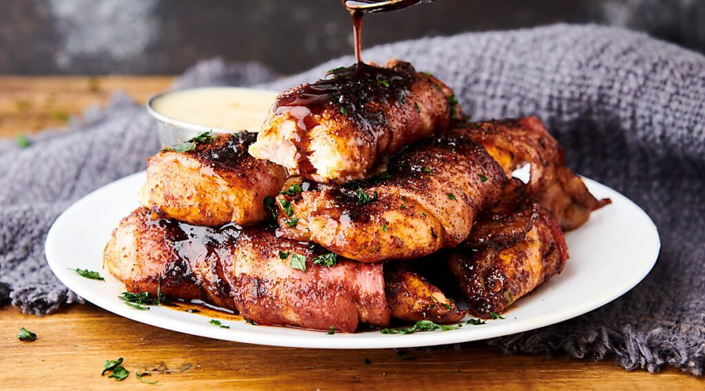 plate of bacon wrapped chicken tenders