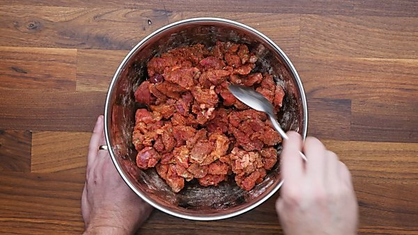 cubed beef coated in spices