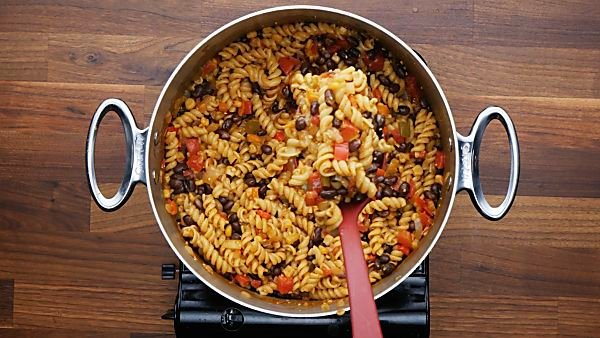 finished black bean pasta in stockpot