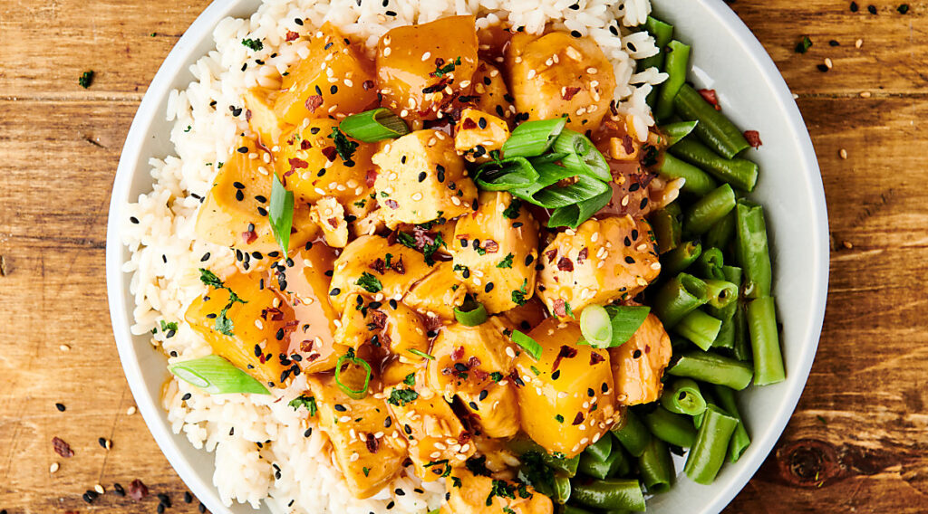 plate of crockpot pineapple chicken above