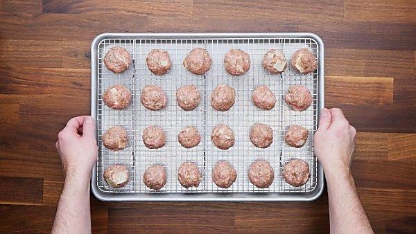 turkey meatballs on baking sheet