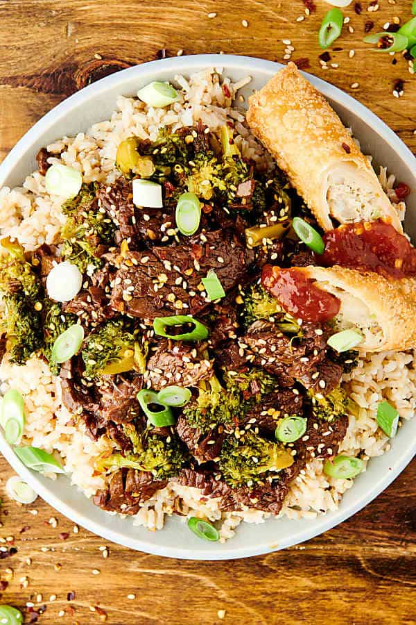 plate of instant pot beef and broccoli above