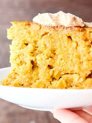 plate with slice of instant pot cornbread held