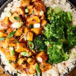plate of instant pot honey garlic chicken with rice and broccoli above