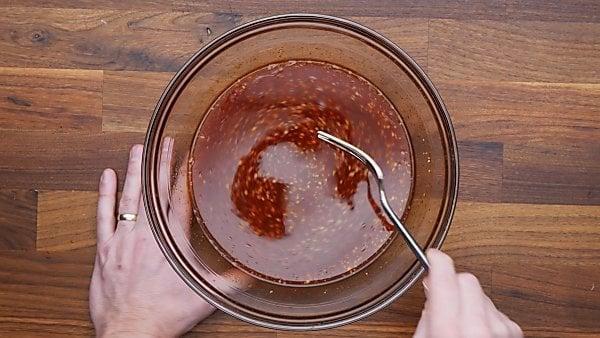 honey garlic sauce in mixing bowl