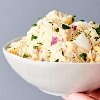 bowl of instant pot potato salad held