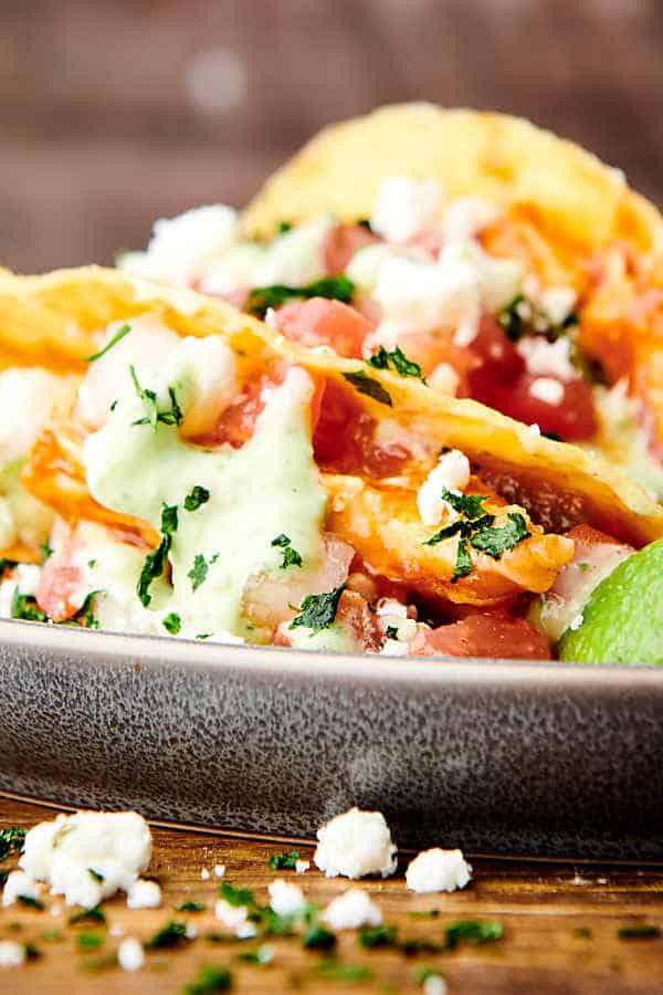 closeup of salsa chicken tacos