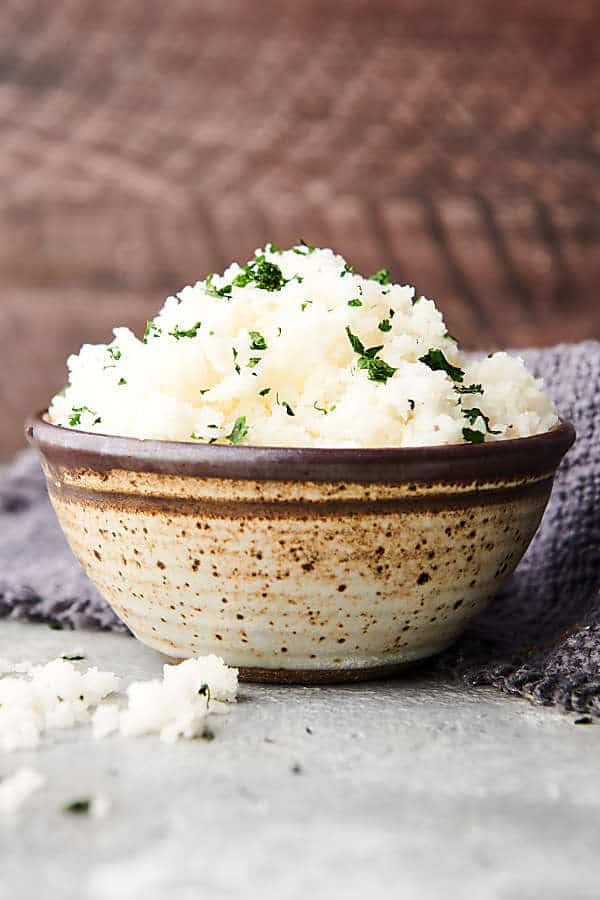 bowl of slow cooker rice side view
