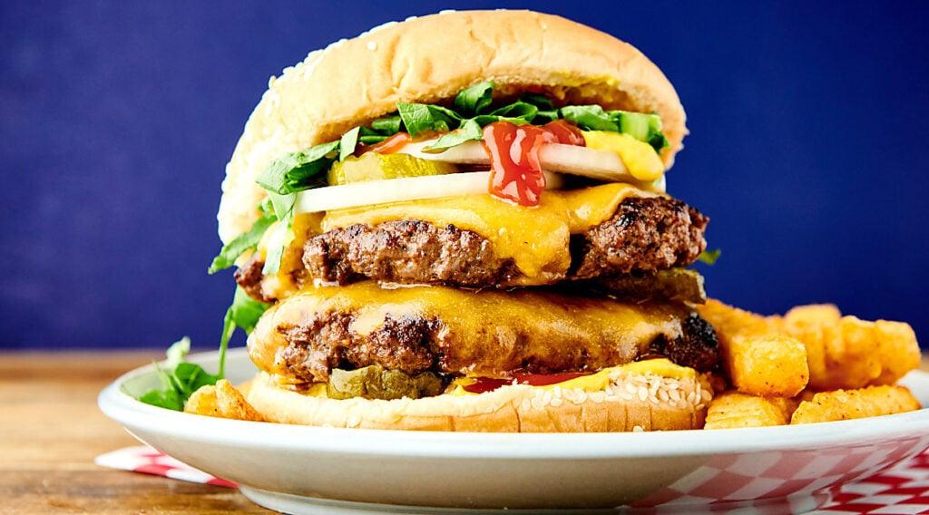 smash burger on plate