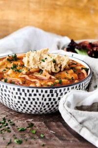 bowl of vegan lasagna soup side view