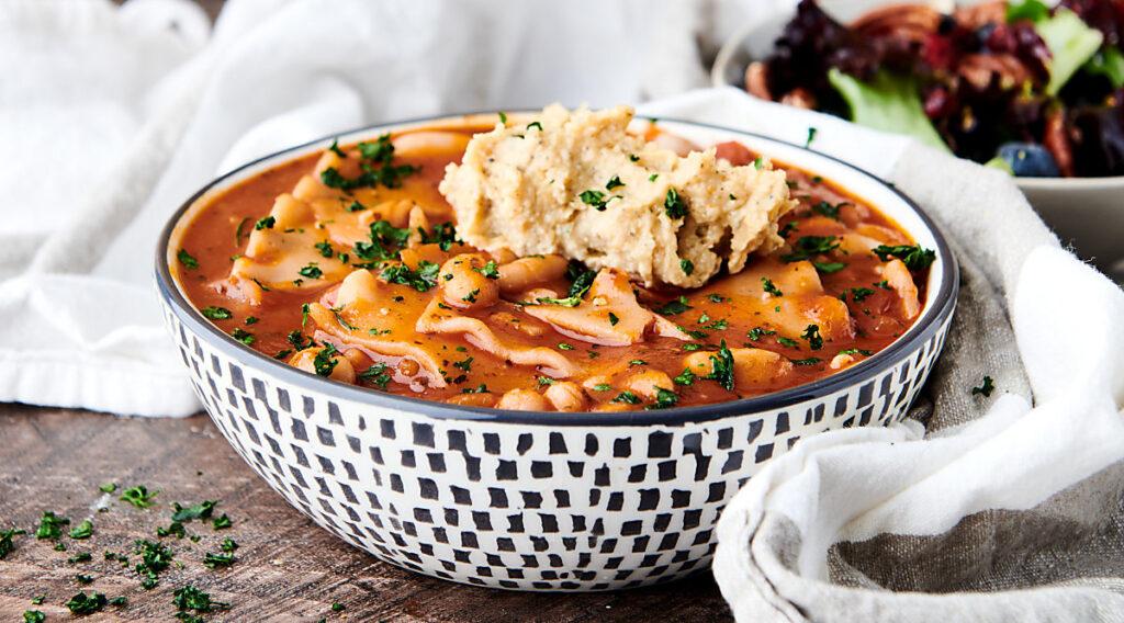 bowl of vegan lasagna soup
