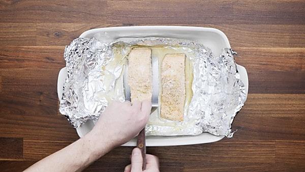 baked salmon in baking dish