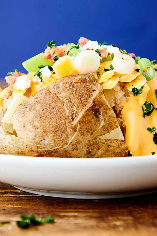 instant pot baked potato on plate side view