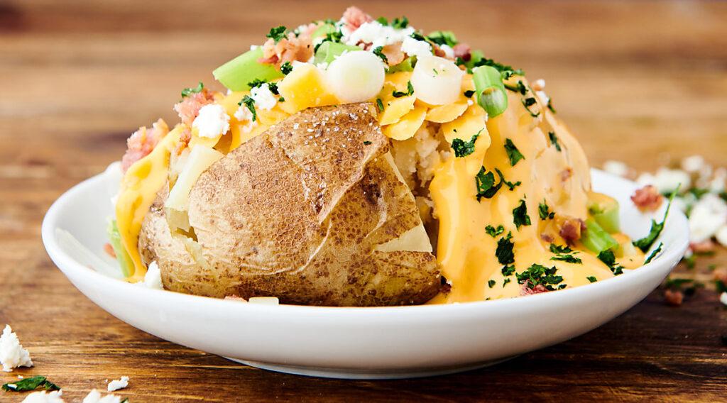 instant pot baked potato on plate